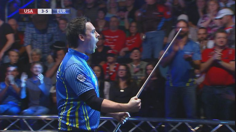 Karl Boyes leads Europe's celebrations in the Mosconi Cup