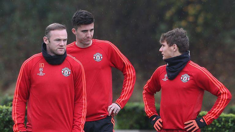 Goss in training with Wayne Rooney