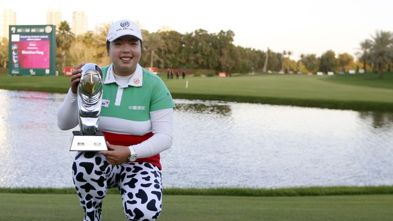 Shanshan Feng lifted the Omega Dubai Ladies Masters  trophy for the third time in four years