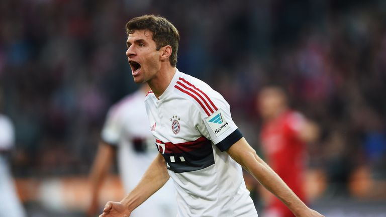 Thomas Muller celebrates during Bayern 2-1 win over Hannover