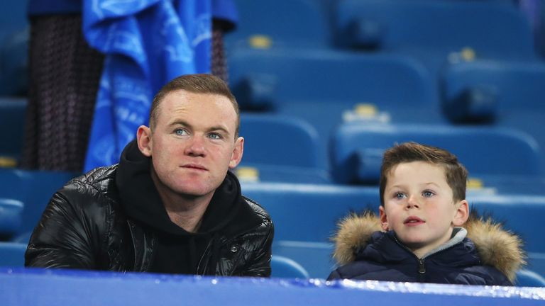 Wayne Rooney and son Kai were in attendance at Goodison to watch the England captain's former club in action