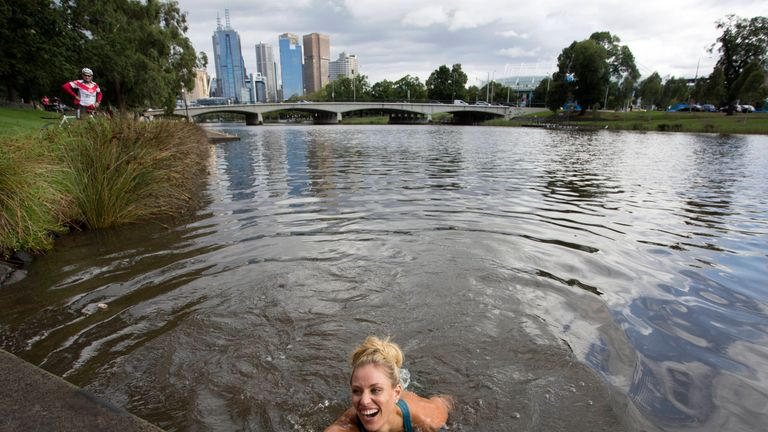 Kerber took a dip in the Yarra River in Melbourne on Sunday to celebrate her win