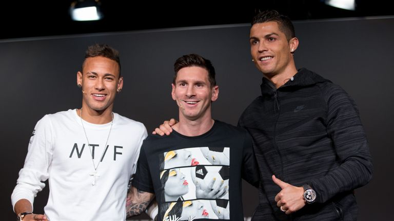 Cristiano Ronaldo sits atop the European table with an index score of 587, above Neymar (530) and Lionel Messi (497)