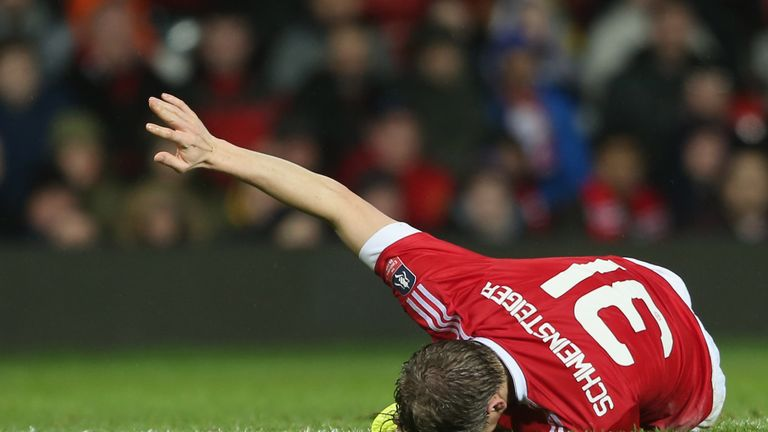 Schweinsteiger was injured during the FA Cup match between Manchester United and Sheffield United