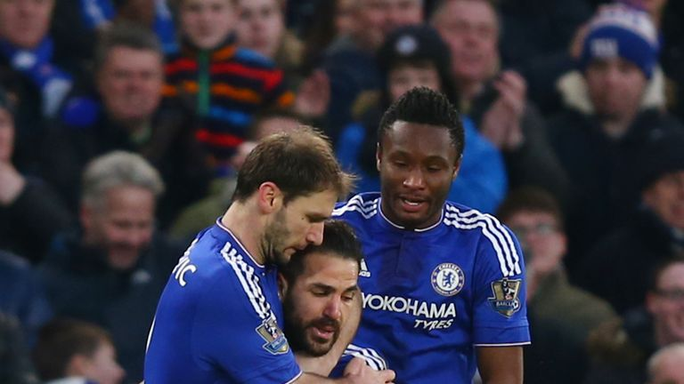 Cesc Fabregas celebrates scoring Chelsea's second goal