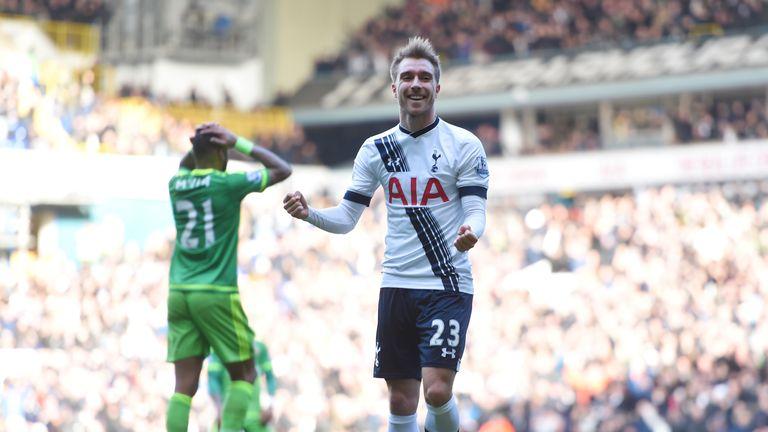 Christian Eriksen celebrates Tottenham's opener against Sunderland