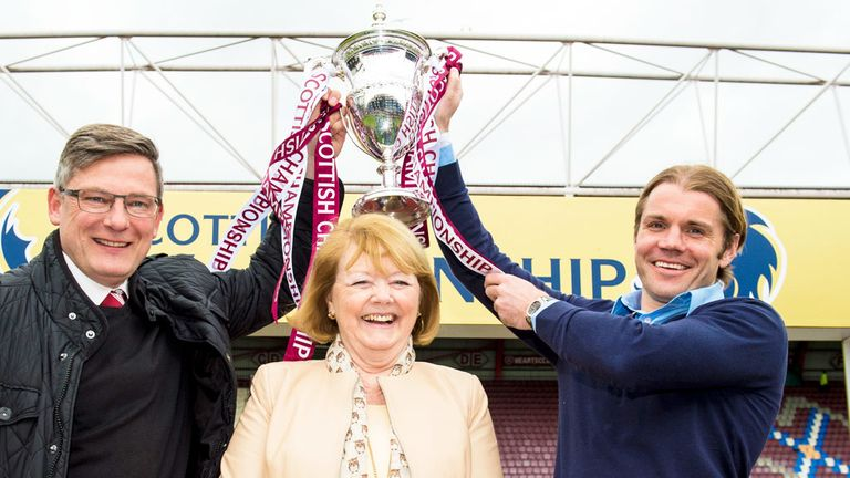 (left-right) Craig Levein, Ann Budge and Robbie Neilson of Hearts with the Championship trophy