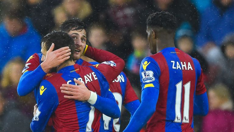 Joel Ward (left) celebrates scoring Palace's goal against Southampton in the FA Cup with team-mates