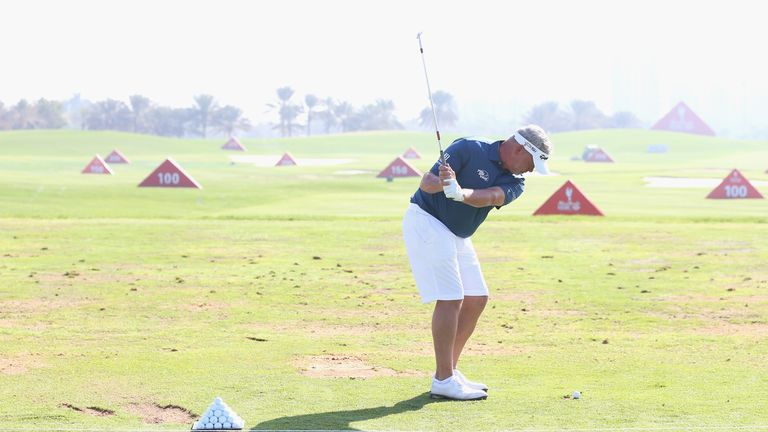 Darren Clarke took the opportunity to wear shorts during practice in Abu Dhabi