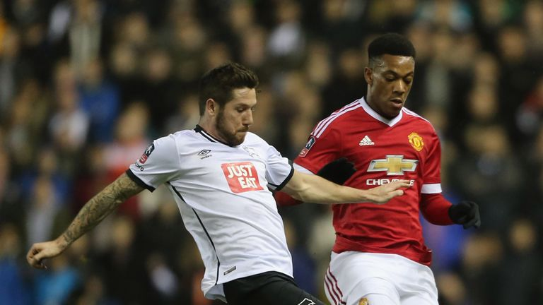 Anthony Martial caused problems for Derby all evening