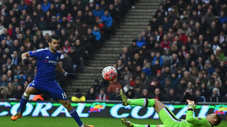David Martin brilliantly denied Diego Costa from close range