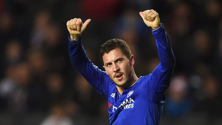 Eden Hazard of Chelsea celebrates his goal from the penalty spot