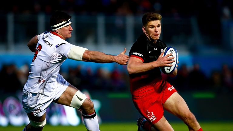 Owen Farrell avoids Robbie Diack to set up Saracens' second try against Ulster