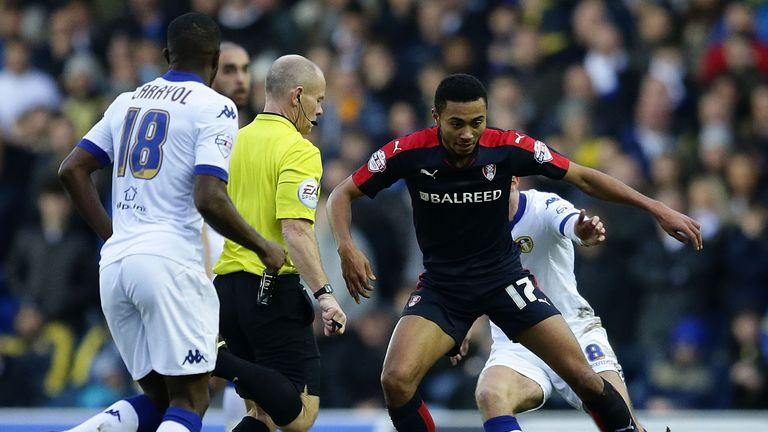 Grant Ward of Rotherham maintains control during the match at Elland Road