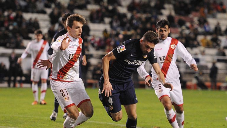 Atletico Madrid's Guilherme Siqueira (centre) is on the verge of joining Newcastle on loan