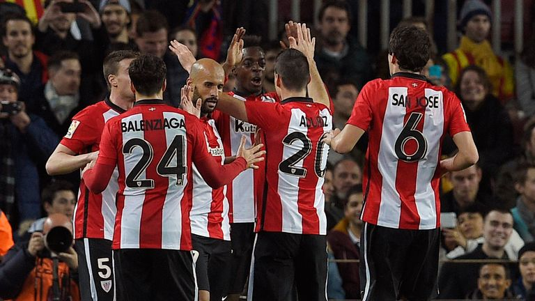 Athletic Bilbao's players celebrate after Inaki Williams' goal in the first half
