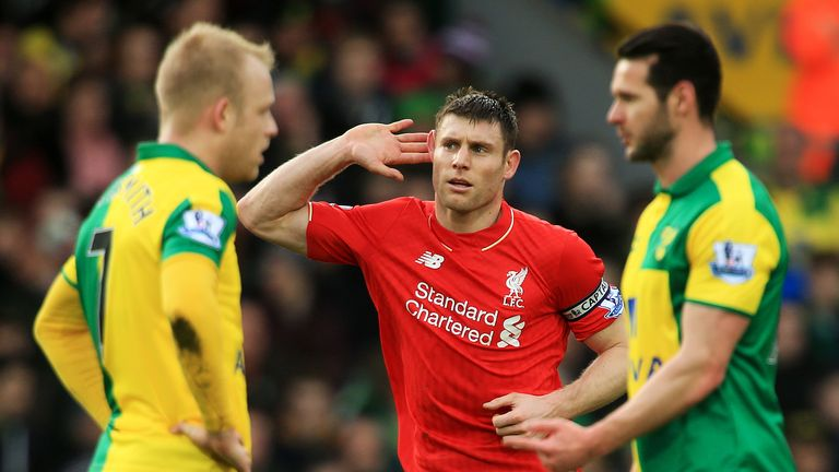 James Milner celebrates after his strike at Carrow Road