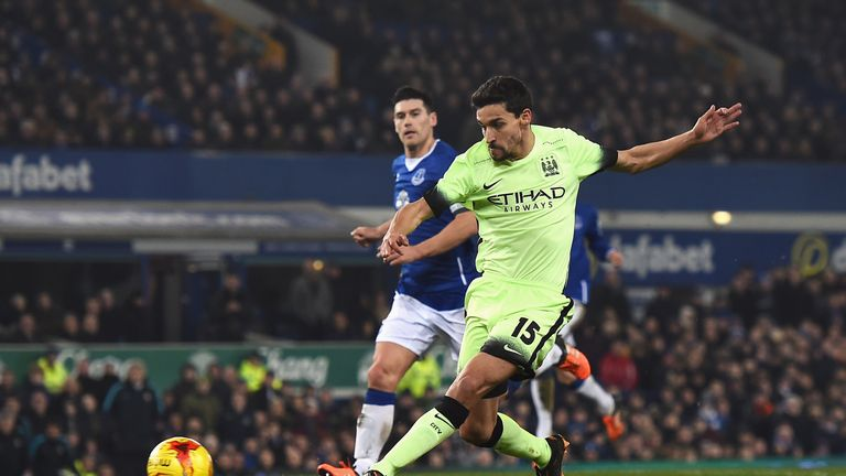 Man City's Jesus Navas scored his first goal since September 2014 in the first leg