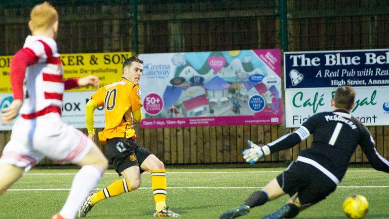 Josh Todd scores Annan's second goal in the 4-1 win over Hamilton