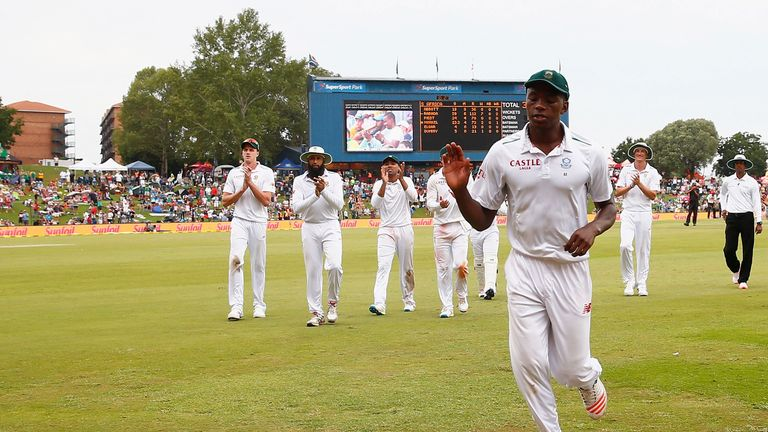Kagiso Rabada acknowledges the applause for his 7-112 against England