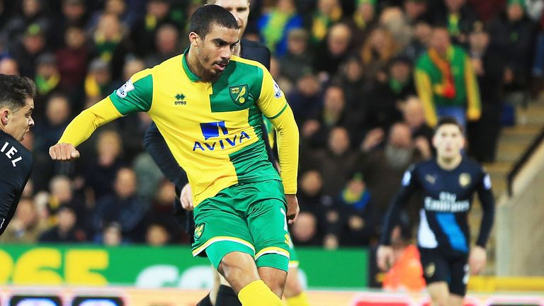 Lewis Grabban scored for Norwich against Arsenal this season