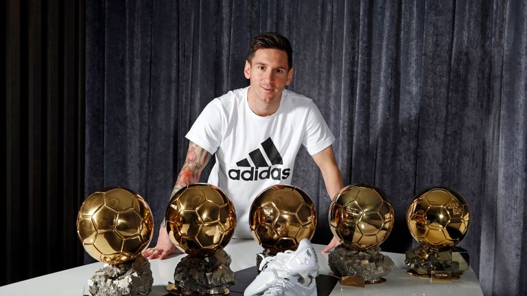 Lionel Messi With His Five Ballon Dor Titles And New Platinum Adidas Boots