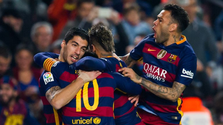 Luis Suarez celebrates after equalising on the night against Athletic Bilbao