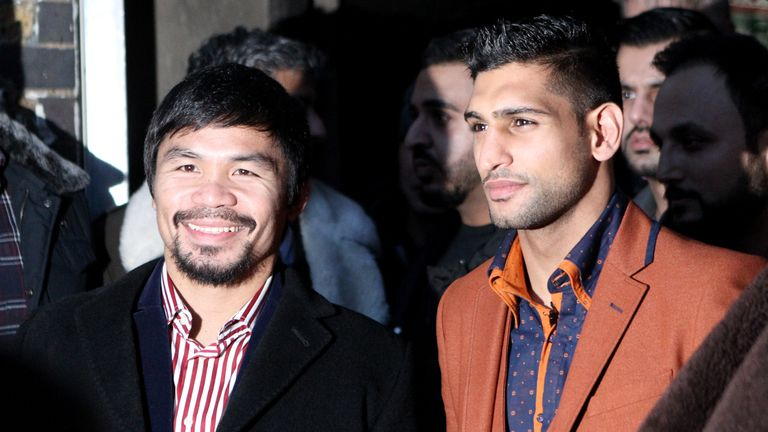 Khan was unable to arrange a fight with Manny Pacquiao (left)