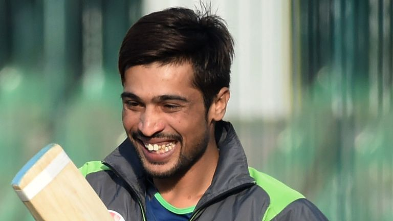 Mohammad Amir smiles during a practice session for the Pakistan Super League (PSL) in Lahore
