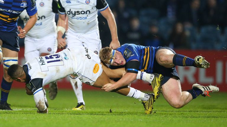 James Tracy tackles Bath full-back Anthony Watson