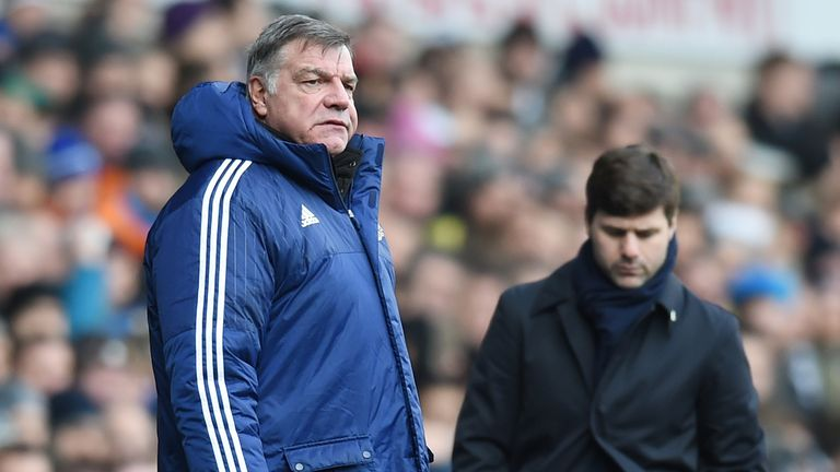 Sam Allardyce and Mauricio Pochettino watch from the sidelines