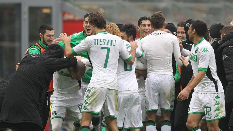 Sassuolo celebrate victory over Inter