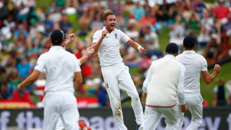 Stuart Broad celebrates taking the wicket of AB de Villiers during his incredible spell in Johannesburg four years ago