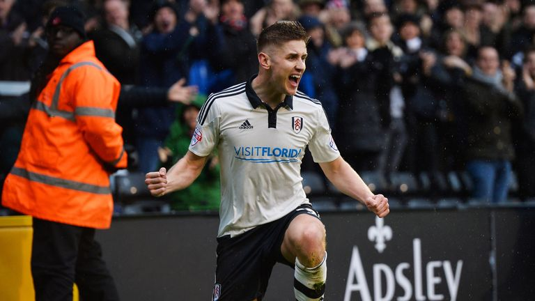 Tom Cairney celebrates after scoring against Charlton