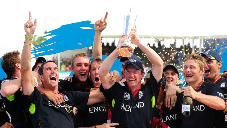 Paul Collingwood lifts the ICC World Twenty20 trophy in 2010