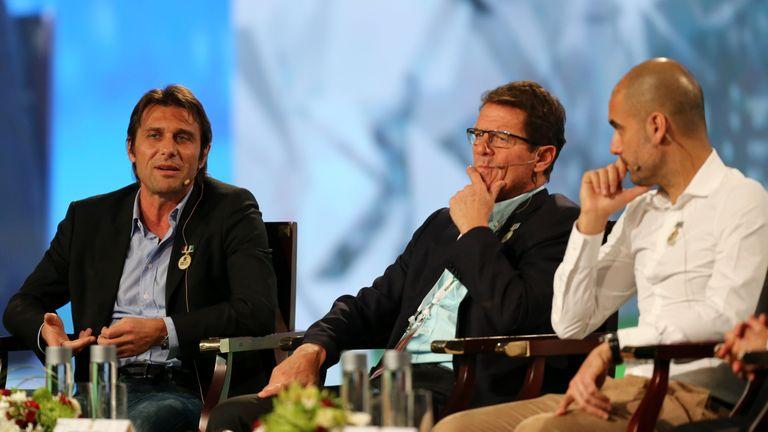Fabio Capello pictured with Antonio Conte and Pep Guardiola at the Dubai International Sports Conference