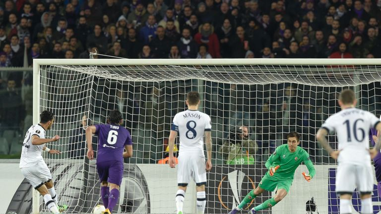 Nacer Chadli slides home the opening goal from the spot