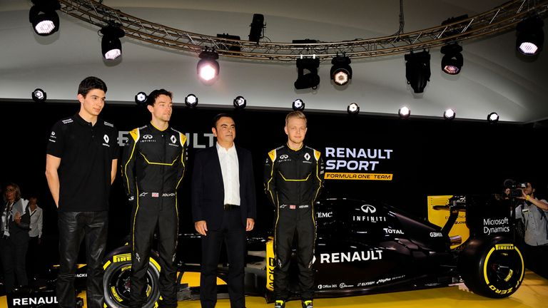 Reserve driver Esteban Ocon (left) joined race drivers Jolyon Palmer and Kevin Magnussen at the unveiling