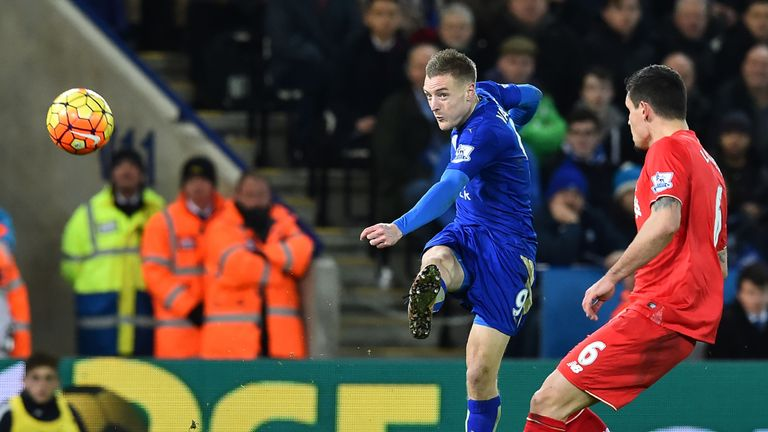 Jamie Vardy scores the opening goal against Liverpool at the King Power Stadium