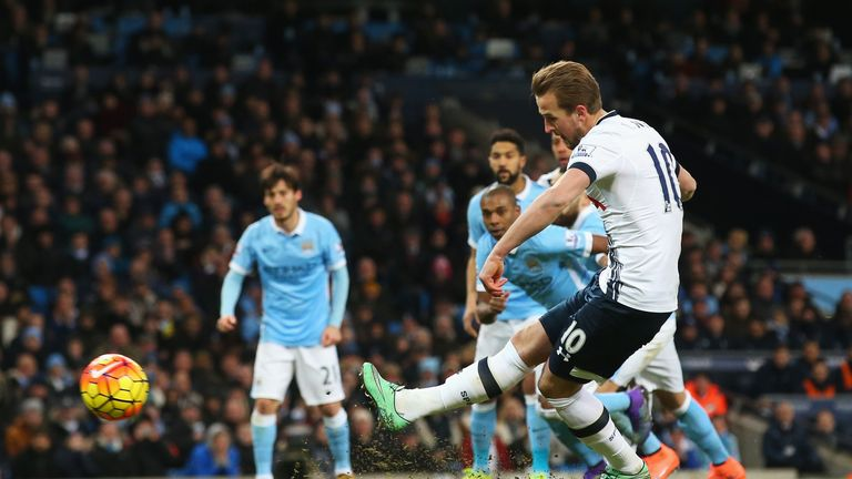 Kane's last goal against Manchester City came from the penalty spot in 2016