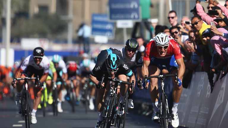 Kittel outsprinted Elia Viviani (left) and Mark Cavendish (centre) on stage four