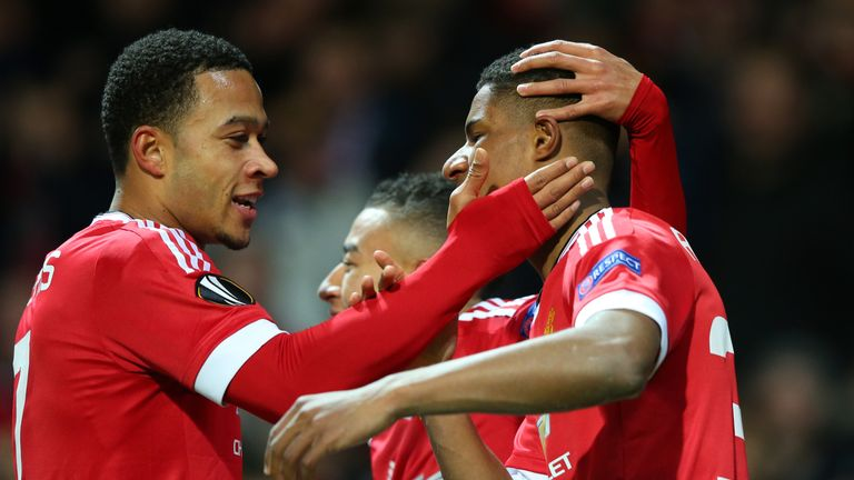 Rashford (right) turned the tie in United's favour with two goals