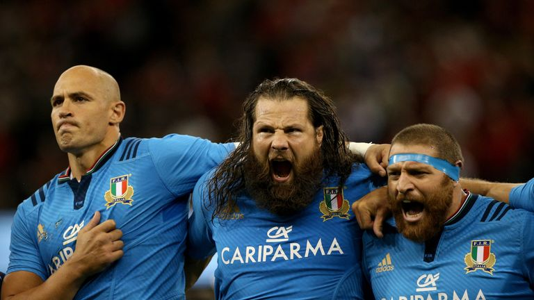 Martin Castrogiovanni (centre) became one of Italian rugby's greats