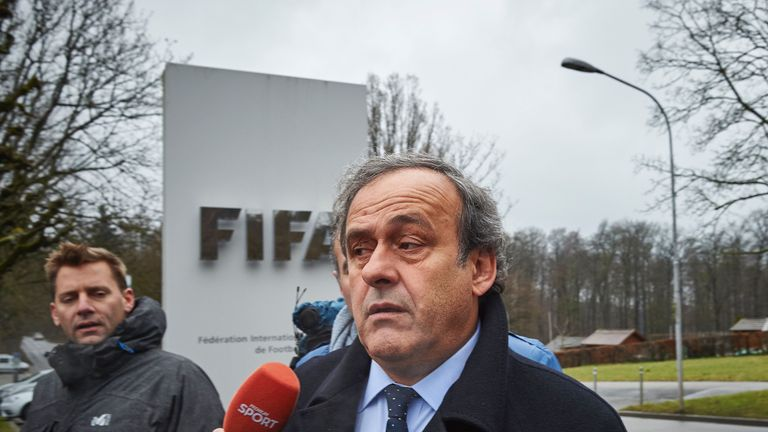 Platini arrives at FIFA HQ in Zurich for his hearing