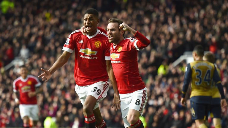 Marcus Rashford scored twice in Man Utd's win over Arsenal