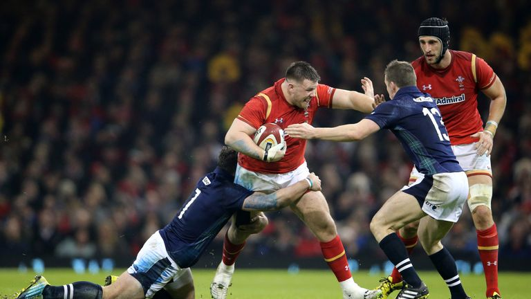 Rob Evans on the charge for Wales