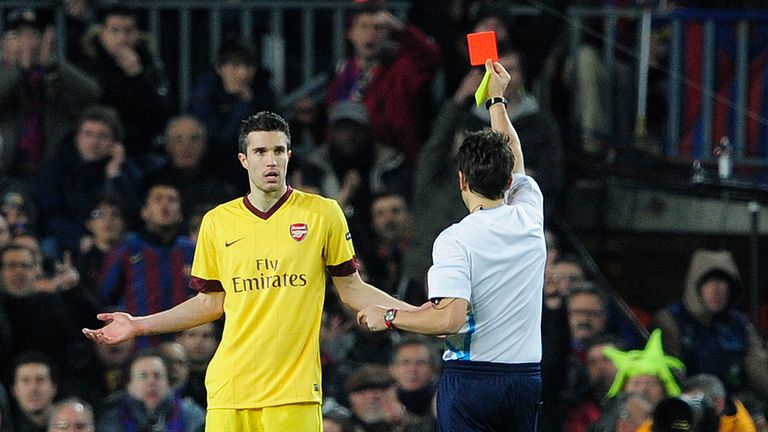 Robin van Persie received a harsh red card at the Nou Camp