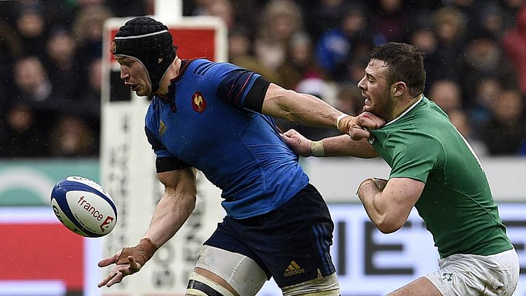 France flanker Wenceslas Lauret vies with Ireland's Robbie Henshaw