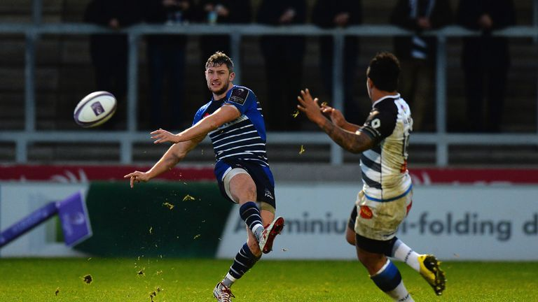 Tom Brady of Sale Sharks kicks the ball to touch during the European Rugby Challenge Cup match
