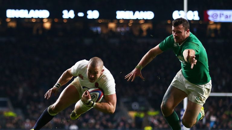 Mike Brown scores England's second try in the win over Ireland